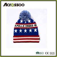 Country flag jacquard knit beanie/fold up dobby knit hat with top ball