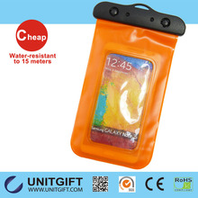 2015 Hot wholesale!!! Orange waterproof dry bag for mobile phone, waterproof cell phone bag, cooler bag for phone