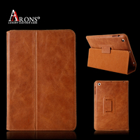 Folio opening stand luxury leather case for ipad