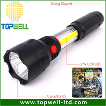 multi function Outdoor Super Bright 250LM 3W COB LED Camping led torch flashlight