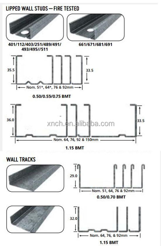 Good Quality Steel Stud Sizes