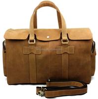 Men crazy horse vintage Leather travel duffel bag with secret compartment