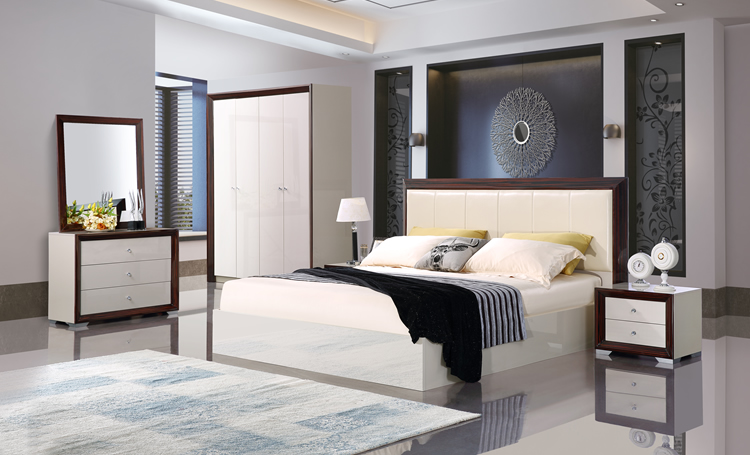 Modern European King Size Bed Set With Wooden Frame