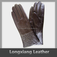 fashion brown color adornment cuff sheep leather gloves womens