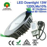 Australia Standards 100mm Cutout Chrome LED SMD Down Light 10W 13W CE SAA Approved