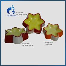 handmade star shape ceramic dog bowls pet food bowl
