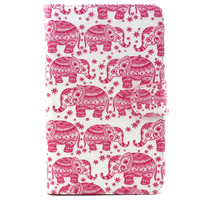 For GALAXY Tab 3 Lite T110 Pink Elephant Pattern Flip Smart Stand Leather Case For Samsung Luxury Folding Cover Case Pouch