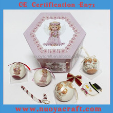 2015 Popular christmas gift set in color box, angel style xmas ball sets