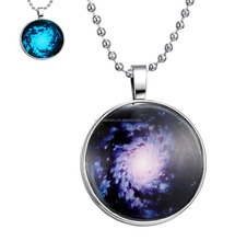Glowing Necklace Blue Nebula Necklace Glass Cabochon Dome Pendant Glow in The Dark Necklace