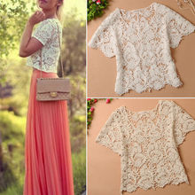 2015 Summer Ladies Blouses Hollow Out Casual Lace Shirts Floral Crochet White