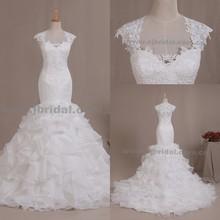 WAN15023 Gorgeous Elegant White Ruffle Skirt Trumpet Mermaid Long Real Sample Bridal gowns Lace Wedding Dresses