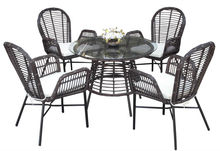 2015 Garden PE Rattan Round Dining Furniture with 8mm Tempered glass Table top