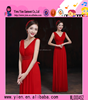 2015 fashion China made V collar ladies party dress sleeveless sexy floor length Long Red formal dress evening dress