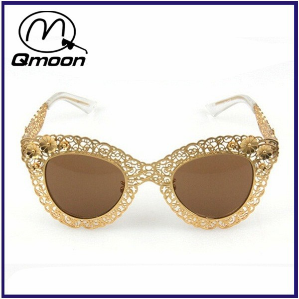 Sunglasses With Gold Frame : Hollow Gold Frame Flower Women Sunglasses Custom Logo ...