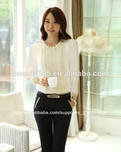 2Colors Tops de las mujeres elegantes de la manga larga blanca de la gasa de la blusa camisas del cordón embellecido