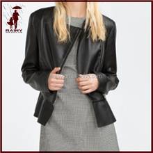 Women's pu leather jacket made in china/women demin jacket in biker style