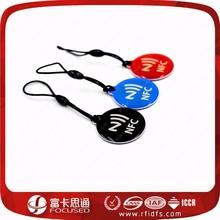 Colored logo printing sharp RFID plastic key rings Fobs tag