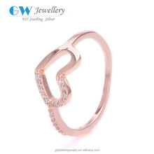Free Shipping Love Heart Plated 585 Gold Ring Patterns Pure Gold Ring