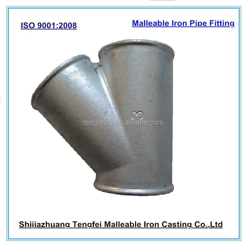 Y tee pipe fitting galvanized malleable iron