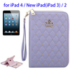 In Stock Wallet Pattern PU Leather Case for iPad 4 with Lanyard