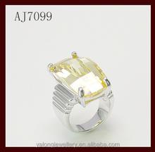 Professional manufacturer big stone ring designs Yellow cz jewelry