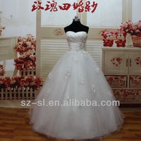 Top Fashion High Grade Actual Wedding Dresses Adorn By Gorgeous 3D Flowers And Beading With Luxuriours Skirt 12119