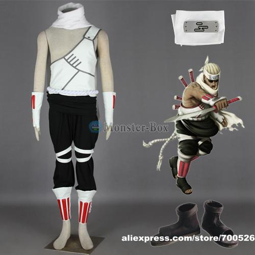 Naruto Killer Bee Cosplay Costume Headband Shoes Mens Ninja