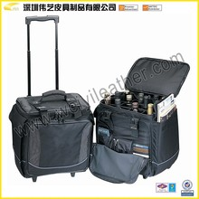 Good quality Black Fashion Portable Wholesale Promotional Gifts Custom Handmade Leather Wine Holder,12 Bottle Wine Box