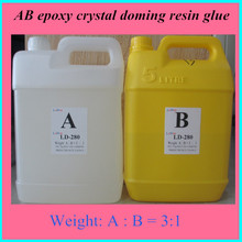 High quality AB two component epoxy transparent doming resin crystal glue adhesive for metal badge PVC
