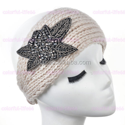 Women Handmade Metal Jewel Knitted Headband Crochet Warmer ...