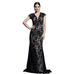 Dorisqueen V neck open back chiffon evening dress with lace, Black Lace Evening Dress 2015