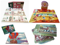 Customized full color printing paper puzzles game 48 pieces floor puzzle