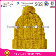 Yellow Custom Cabel Knitted Beanie Hat/Wholesale High Quality Knitted Hat Beanie