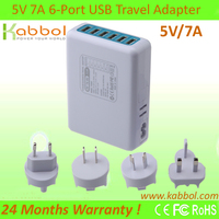 Kabbol 35W 5V/7A 6-Port Fast Quad USB Wall Charger and Travel Charger for Apple, Windows and Android Devices