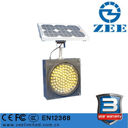 Solar Power Yellow and Amber LED Hazard Light 300mm 200mm Diameter