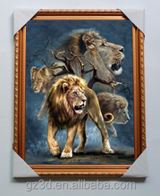lively animal 3d effect picture with golden color frame for decoration