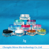 Free shipping by E-packet 100pcs 3g Square Cosmetic Sample Jar with Colorful Lids