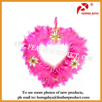 Pink Thanksgiving Holiday Heart Shaped Wreath