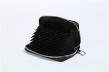 Multi slot mini card holder pu leather card case with zipper around