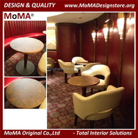 Fine Dining Restaurant Furniture Marble Top Wooden Round Restaurant Dinner Table