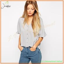 2015 nuevo diseño caliente venta de señora Ladies muestra blusa