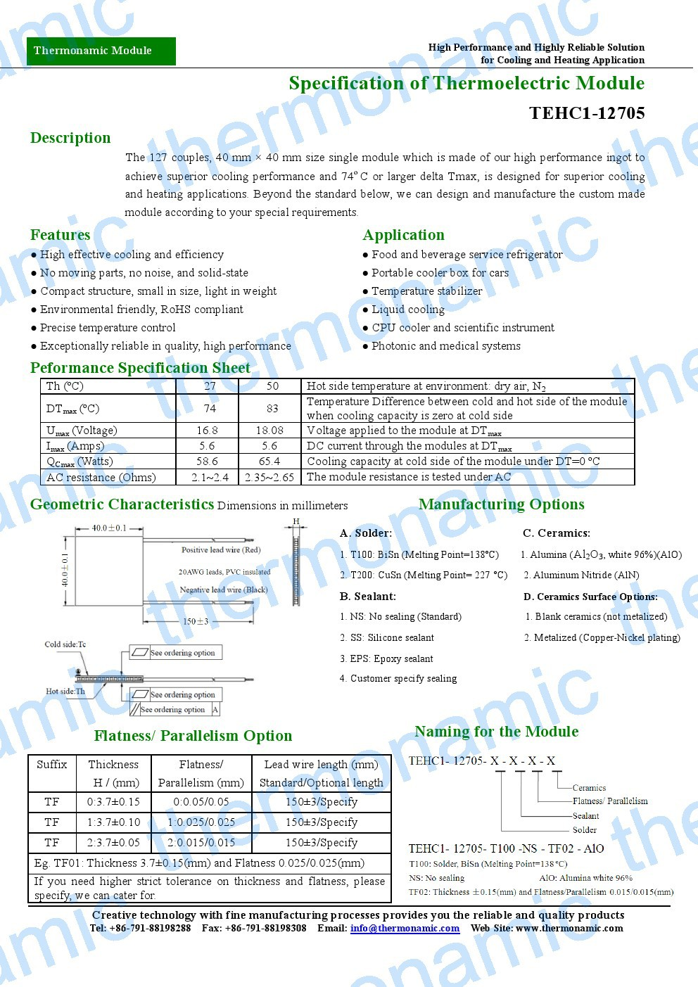 Peltier Module TEHC1-12705