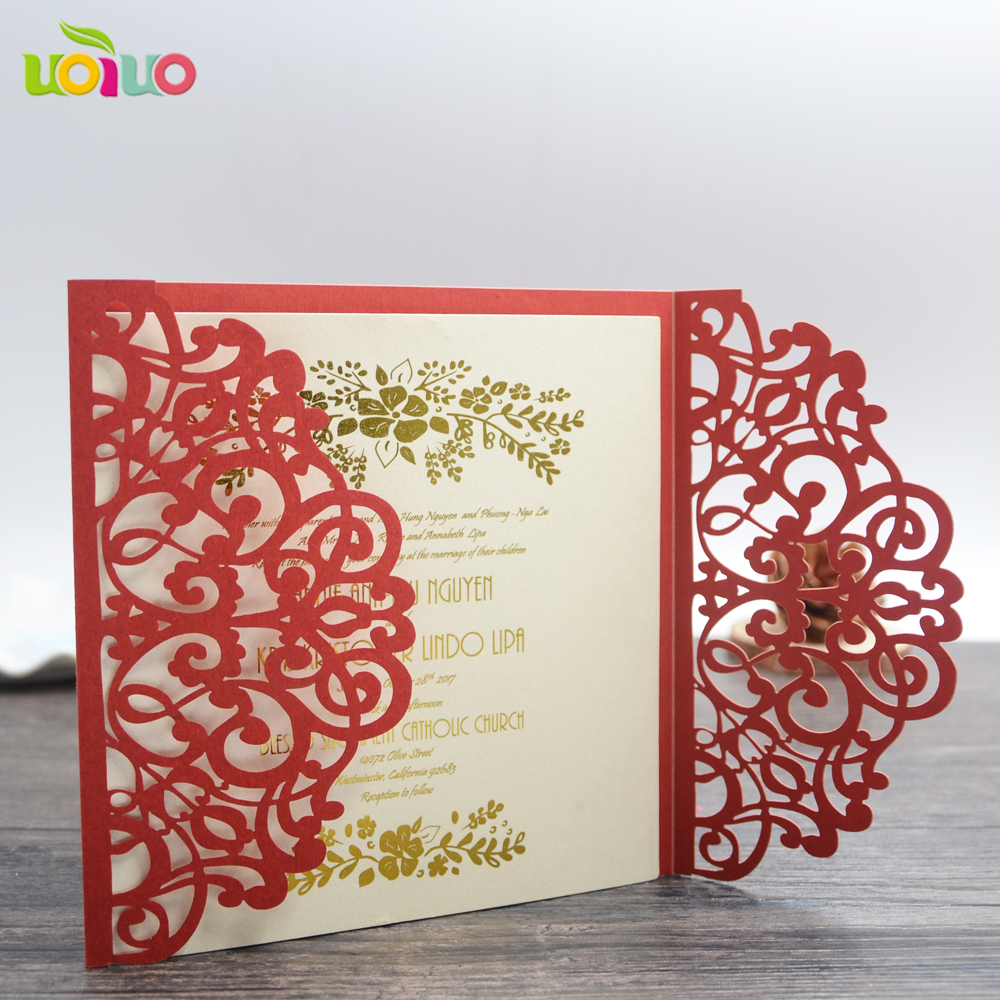 Royal Ivory Laser Cut Square Arabic Wedding Invitation Card With ...
