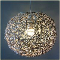 Premier Housewares Small Twisted Natural Rattan Ceiling Light Shade Pendant Lights For Living Room