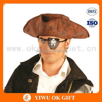 Brown artificial leather cheap pirate hats, faux leather hat, pirate hat pattern