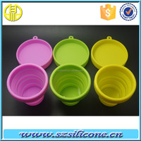 cheap Portable folding silicone cup with lid for outdoor champing