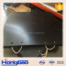 chemical and oil resistant red crane outrigger pad for lifting crane,pe support pad 500x500x50mm, heavy duty ground cover mat