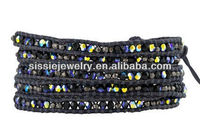 Special Jet AB Crystal Wrap Bracelet with Gunmetal Nuggets on Pacific Blue
