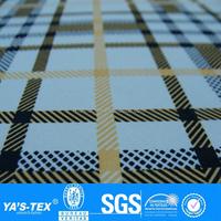 Yellow Black Tartan Design Printed 4 Way Stretch Lycra Fabric For Dress