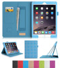Premium PU Leather Case Smart Cover with Card Slots, Pocket, Elastic Hand Strap and Stylus Holder for iPad air 2